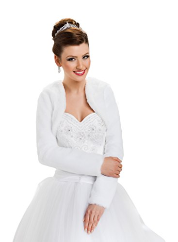 Hochzeit Jacke Brautjäckchen Leichte Hochzeitsjacke für die Braut Bolero aus künstlichem Pelz mit voll länger Ärmel volles Futter, Größe 34, Farbe Weiß