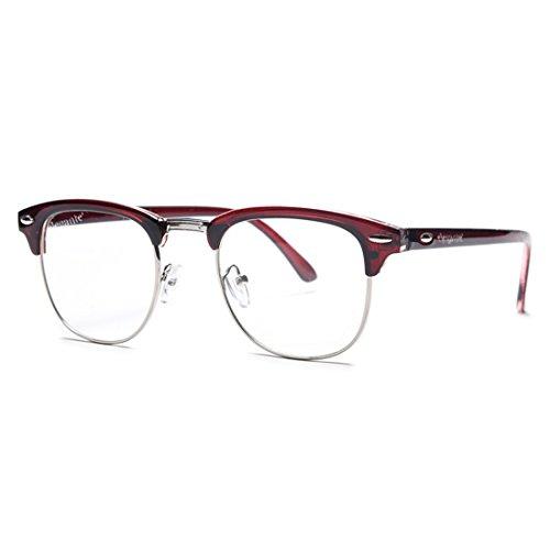 Elegante UV 400 & Anti-Glare Brown Clubmaster Unisex Sunglasses (Model : elt-10001/ARC/Transparent)