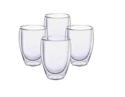 Hoch Borosilikatglas, doppelt isoliert, 350 ml, 4 Packungen, geeignet für Milchgetränke, Kaffeegetränke und Tee