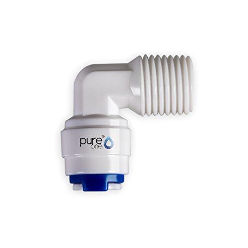 PureOne qf-100 de 02 A Quick Mamelon – connecteur rapide 1/4 sur 1/4 (AG). Modèle : Coude | en forme de L. Tuyau d'accessoires pour inversion de Systèmes Osmose, installations d'eau ou réfrigérateur