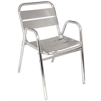 Bolero U501Stapeln, Stuhl aus Aluminium mit gewölbten Arme (4Stück)