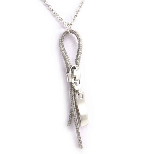 Les Trésors De Lily [J6101] - Halskette 'Zip Séduction' silberfarben. (Zip Lily)