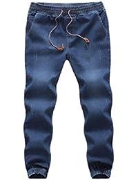 5d63aa09deda Manadlian Herren Beiläufig Herbst Denim Baumwolle Elastisch Zeichne  Zeichenkette Arbeit Hose Jeans Hose Autumn Winter