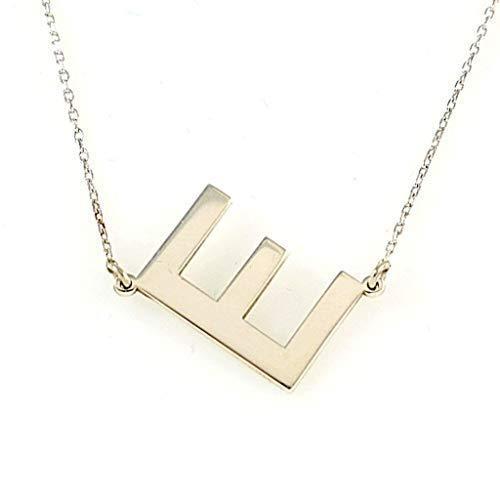 Sterling Silber Seitwärts Personalisierter E Anfangsbuchstabe Anhänger Halskette 40+5cm Kette (Farbe: Silber) -