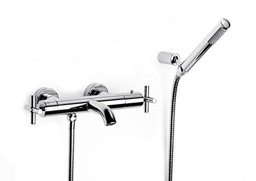 Roca Loft – grifo termostático exterior para baño y ducha con desviador-regulador de caudal, ducha de mano, . Griferías hidrosanitarias con montura cerámica. Ref. A5A0743C00