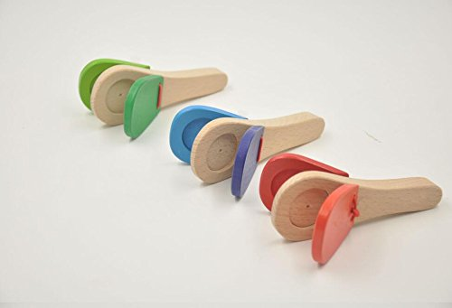 Baby- und Kleinkindspielzeug Baby Frühes Lernen Kastagnetten Holz Kleinkind Spielzeug Einfache Pädagogische Musikinstrument (Gelegentliche Farbe)