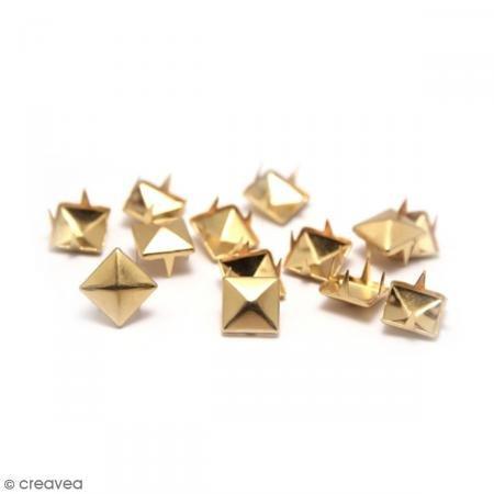 Ki Schild Fashion quadratisch Nailhead Klauen, Gold, 8x 8mm, Hemdenknöpfe