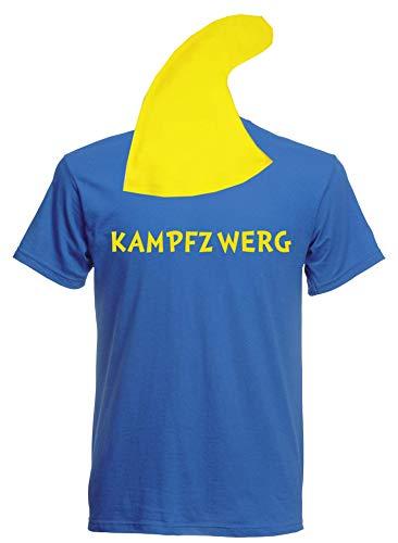 aprom Zwergen T-Shirt Kostüm mit Mütze div. Motive zur Auswahl - Fasching JGA Sheriff Gruppenkostüm Karneval Zwerg (S, Blau - Kampfzwerg)