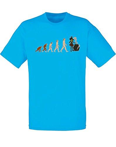 Evolution of Witch, Mann Gedruckt T-Shirt Azurblau/Transfer