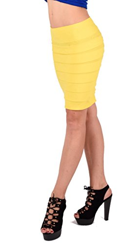 Stretch Minirock oder Bandeau Top 2 in 1 mit breiten Lamellen Gelb