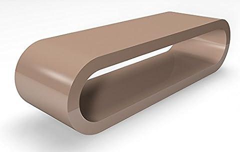Cerceau de Style Rétro Grand Cappuccino Brillant Largeur Table Basse / Meuble TV 110cm