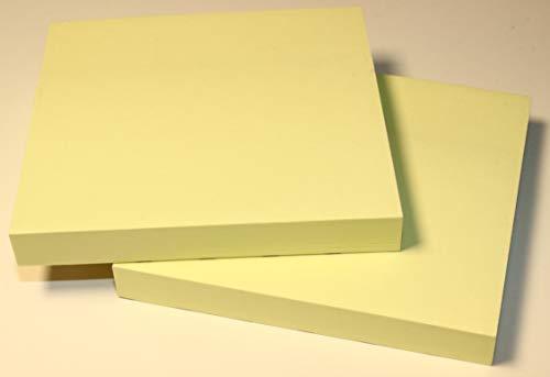 Notiz Block 2er Set selbstklebende Haftnotizzettel Klebezettel Zettelblock Schreibblock Kühlschrank Schwarzes Brett 76 x 76 mm 2 Notizblöcke quadratisch à 100 Blatt gelb