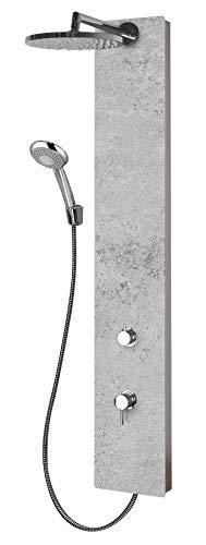 Schulte D9667 602 Duschsystem Deco-Design Stein grau hell Struktur, Einhebelmischer, Kopfbrause rund, Duschmaster Rain mit Regendusche