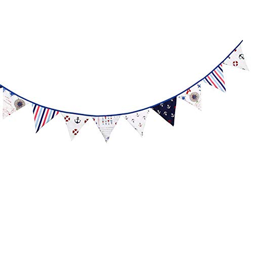 Banner Pennant - 12 Flags 3.2m Pirate Theme Cotton Fabric Bunting Pennant Banner Garland Party Decoration 2016 - Flags Pole Seahawks Pennant Flag Banner Holder