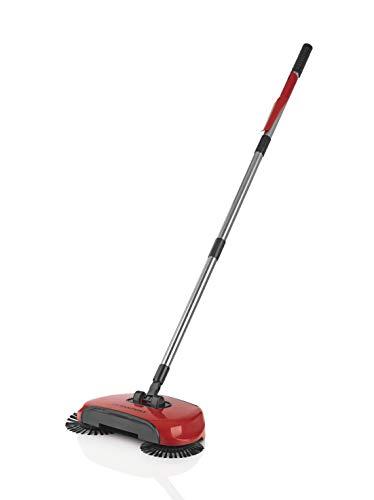 Cleanmaxx 021261486UN-Escoba eléctrica Rojo con 3cepillos, escoba, depósito colector, rotatoria, larga Gire...