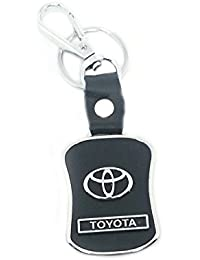 I-gadgets Leather Locking Keychain For Toyota (8cmL X 6cmB, Black)