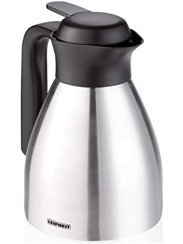 Leifheit Shine 0,6 L Isolierkanne, 100{1c3464bb4468cd3fbc4e3e4a9c6e32f818bee80a05b5544586d3fe60f8fd68c4} dicht, Thermoskanne mit doppelwandigem Edelstahl-Isolierkörper, praktisches Öffnen und Schließen mit einer Hand, Kaffekanne, Teekanne, silber schwarz