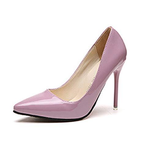 nschuhe Blau Rotwein Farbe Spitz Pumps Lackleder Kleid High Heels Bootsschuhe ()