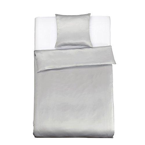 LilySilk Seide Bettwäsche-Set 2 teilig Bettbezug 155x200cm Kissenbezug 80x80cm Seide Unifarben 19 Momme-Silbergrau Verpackung MEHRWEG