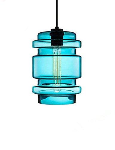 Cozyle Modern Glasmalerei Bucket Shaped Hängeleuchte Lampenschirm blau OneSize -