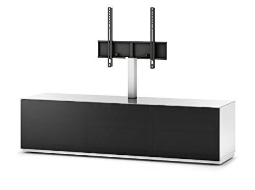 Sonorous STA 261T-WHT-BLK-BS stehende TV-Lowboard mit TV-Aufhängung, versteckten Rollen, weißer Korpus, obere Fläche, gehärtetem Weißglas und Klapptür mit schwarzem Akustikstoff