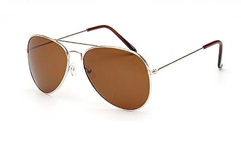 (Golden-braun Objektiv-Feld) Sonnenbrillen für Männer Frauen Unisex Modell-Flieger-Spiegel-Tropfen-Klassiker