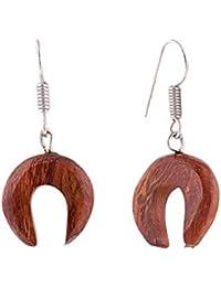 4f9bcaa32871 Aretes tibetanos de madera antigua tallada tribal africano de gran calibre  falso