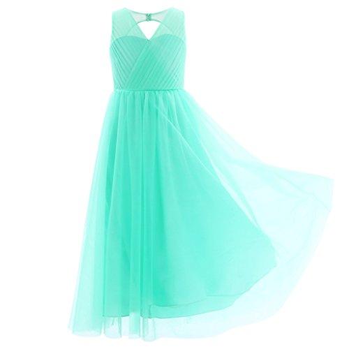 CHICTRY Kinder Mädchen Kleider Festlich Lange Brautjungfern Kleid Hochzeit Blumensmädchenkleid Partykleid Kleidung Türkis 164