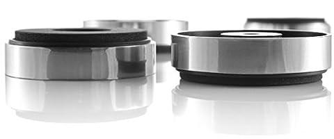 Hifi Lab Pieds 40x11 pour appareils – Kit de 4 pieds argenté absorbeurs audio absorbeurs de vibrations