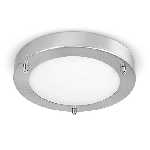 MiniSun Modern Silver Chrome and Glass Flush Mini Bathroom Ceiling Light - IP44 Rated