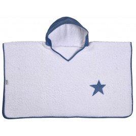 Peignoir Enfant Poncho À Capuche Bleu Orage étoile -2 à 6 ans Ans - La Cabane Des Lutins
