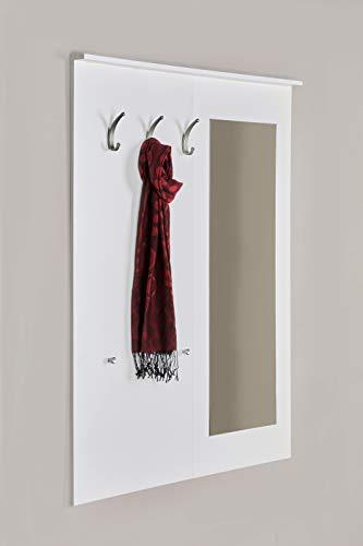 Möbeldesign Team 2000 5077 - Garderobe, Wandgarderobe, Wandpaneel, Spiegel, weiß seidenmatt