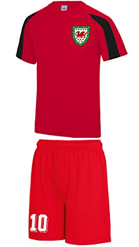 Kids Customisable Wales CYMRU style home football kit shirt and shorts  fire-red jet-black 12 13 yrs
