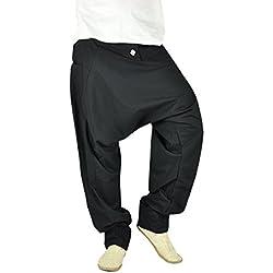 Cómodos pantalones cagados para hombres y pantalones bombachos en moda étnica ropa hippie de virblatt M - XL – Freudentanz negro