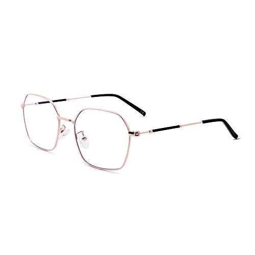 AMZTM Quadrat Metallrahmen Blaues Licht Blockieren Computer Spiel Brillen für Männer Frauen, Klassisch Retro Computer-Brille für Die Arbeit, Anti-Eyestrain (Rose Goldene Rahmen)