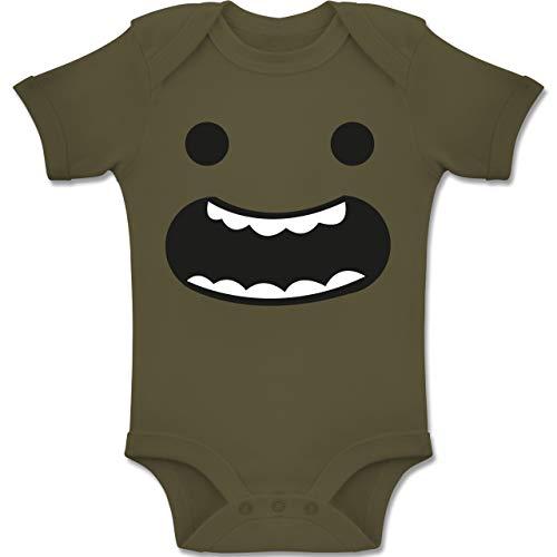 Shirtracer Karneval und Fasching Baby - Gesicht mit Zähnen fröhlich Kostüm Fasching - 1-3 Monate - Olivgrün - BZ10 - Baby Body Kurzarm Jungen Mädchen