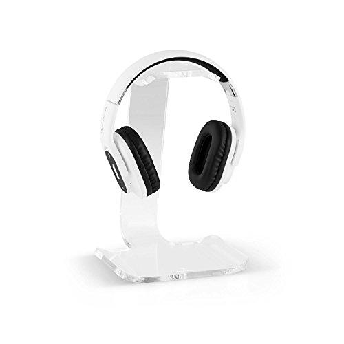 auna Universeller Kopfhörer-Ständer | Kopfhörer Halterung Halter Aufhängung | mit Ablage für Smartphones und MP3-Player | aus transparenten Acrylglas | Materialstärke: 8 mm