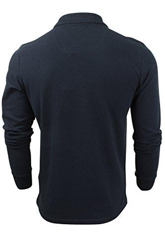 "Brave Soul - Herren Polo T-Shirt ""Lincoln"" Pique Lange Ärmel Vintage Blau"