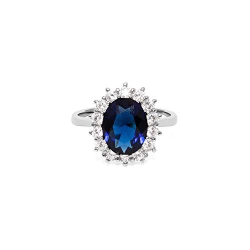 prettique® Damen Ring aus echtem 925 Sterlingsilber - 14 Hochwertige Zirkonia Steine - Funkelnder blauer Saphir - Anlaufschutz & Nickelfrei - Verlobungsring Kate