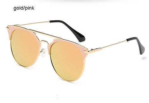 Aprigy Spiegel Rose Gold Katzenaugen-Sonnenbrille Frauen-Runde Luxuxmarken Weibliche Sonnenbrillen Frauen [Gold Rosa]