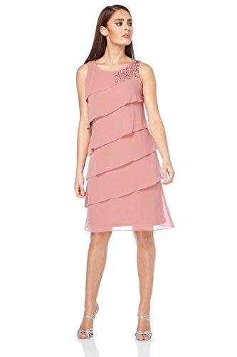 Roman Originals Women's Pretty Frill Chiffon Dress - Ladies Summer Evening Layered Party Special Occasion Dresses