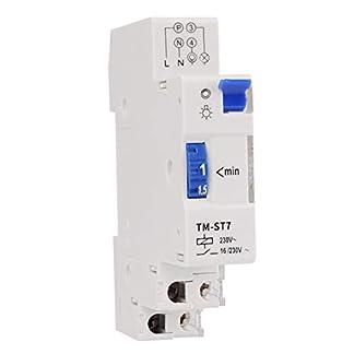 SINOTIMER TM-ST7 220V 7 Minutos Temporizador mecánico 18mm Módulo único Temporizador de escalera de riel DIN Instrumento de interruptor de tiempo (Color: Blanco)