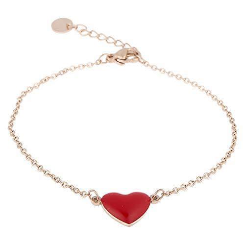 Inscintille cuore rock bracciale sottile in acciaio rosa con cuore rosso smaltato