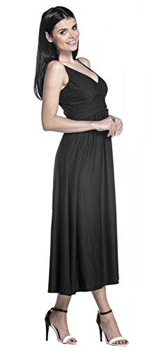 Zeta Ville - Pieghe vestito di seta maxi scollo a V - cinghietti - donna - 276z Nero