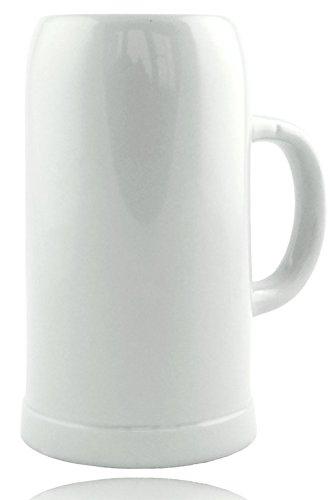 Steinzeug Krug 1,0l, Ohne Dekoration, Klassischer Bierkrug, Weiß, Steingut, Geschenk, Sammler, Ø 19 cm - Hohe, Keramik-krug Weiße