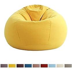 Puffs pera Sillón Mediano para Niños, Adolescentes Y Adultos - Sillones Grandes Y Elegantes con Funda Extraíble - Muebles Tumbonas para Todas Las Edades, 4 Colores (Color : Amarillo)