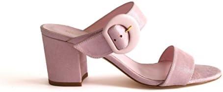 NOGUERON Marina Candy Heel. Sandalia de Tacón Cubano. Piel Ante Color Rosa Laminado con Efecto Brillante (Glitter).