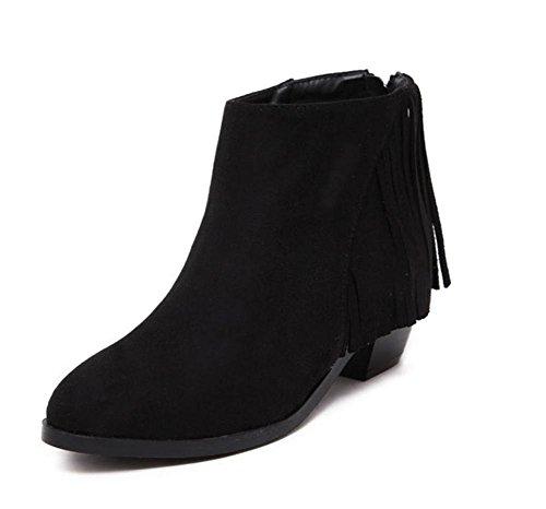 YMXJB Talons femmesEurope, Mesdames mode Astuce gland bottes courtes Black