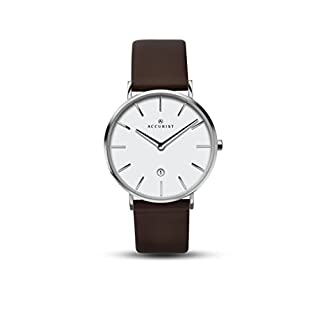 Accurist Unisex  Quartz Watch with White Dial Analogue Display and Dark Brown Leather Strap 7143.01