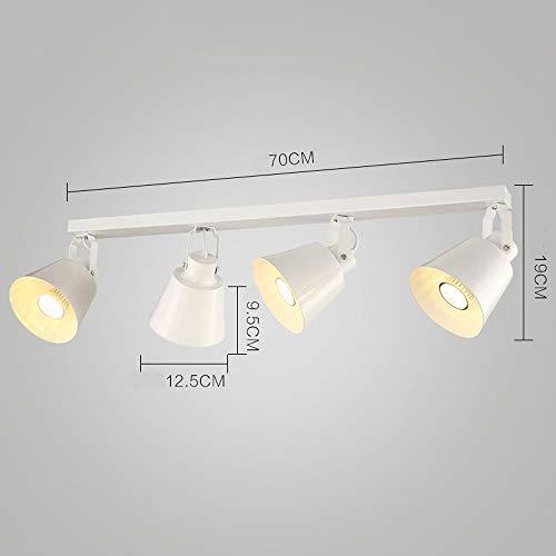 DS Scheinwerfer Track Light - 4 Light Rail Kit Lichtleiste, Vintage Kronleuchter - 98cm - Schwarz/Weiß - 5W / 10W && (Farbe : Weiß-70cm) - Vier Scheinwerfer-kit